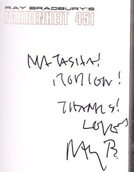 Ray's autograph for Natasha and Rodion